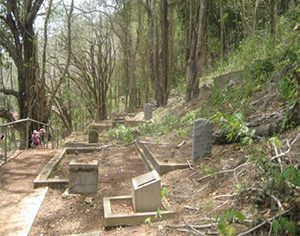 A view of the old European Cemetery on Christmas Island