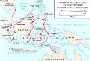A map showing Japanese attacks along the Malay Barrier December 1941-February 1942
