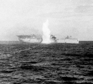 The USS Langley is hit by a torpedo on the 27th January 1942