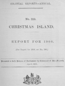 Front cover of Christmas Island Colonial Report 319 for 1900