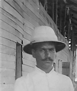 Walter Oorloff c1908 standing on hospital verandah on Christmas Island