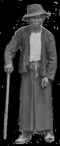 Christmas Island Mandor standing with cane c1900-1902