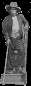 Christmas Island Mandor standing on steps with cane c1900-1902