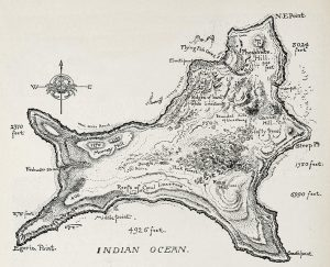 Old illustrated map of Christmas Island