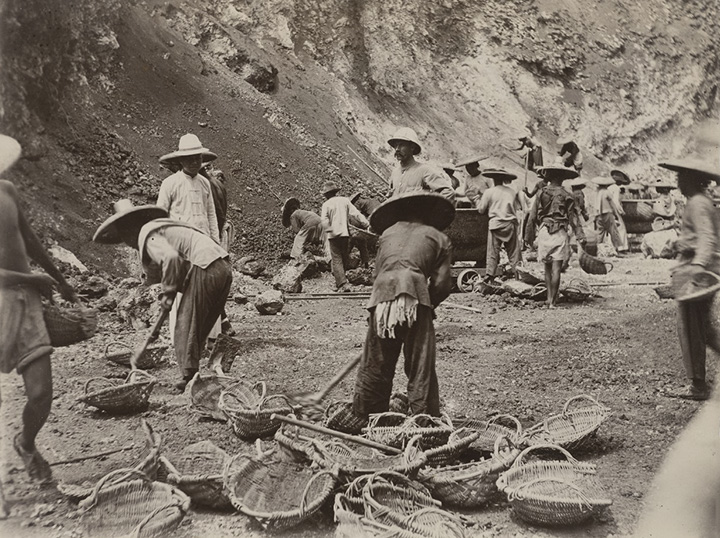 Quarry scene with labouring coolies