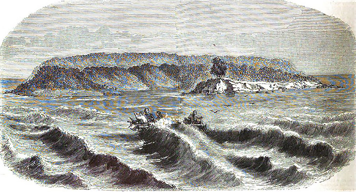 The castaways of Vice-Admiraal Rijk in sight of Christmas Island.