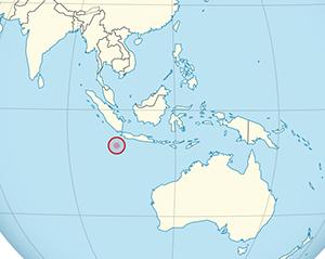 Christmas Island shown on map