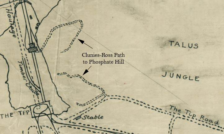 Part of a map showing Clunies Ross path to Phosphate Hill