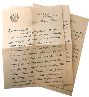 A letter from Dr Allan to his cousin Sybil Matheson